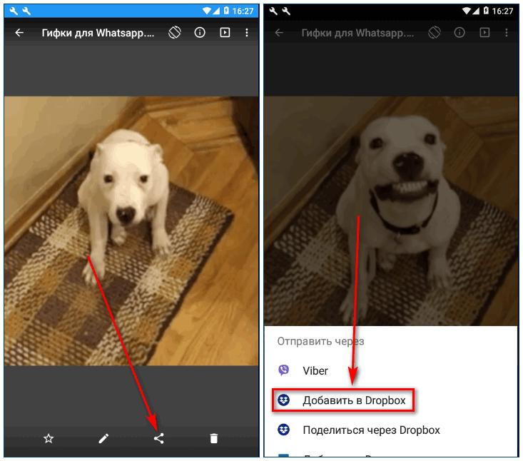 Добавить фото в Dropbox на телефоне
