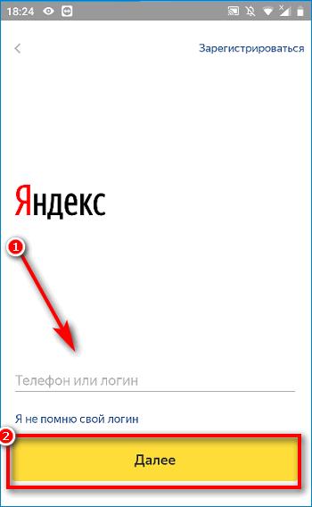 Форма для ввода логина в приложении