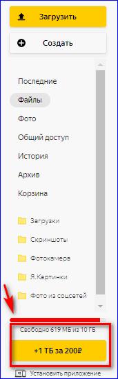 Список услуг Яндекс Диска