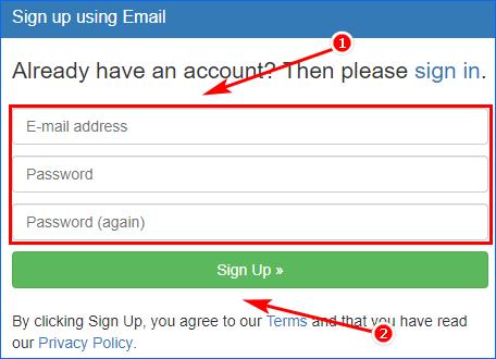 Указать почтовый ящик и пароль