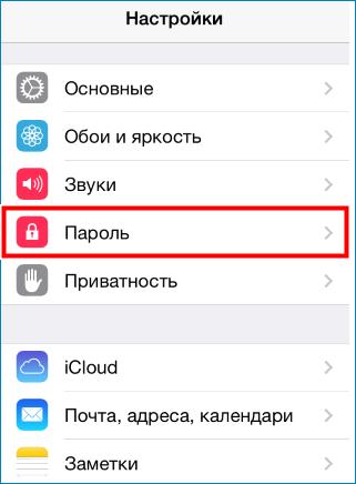 Войти в меню пароль на iPhone