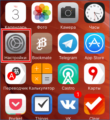 Войти в настройки Iphone