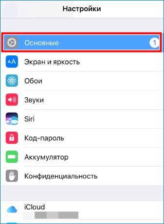 Войти в основные на Iphone