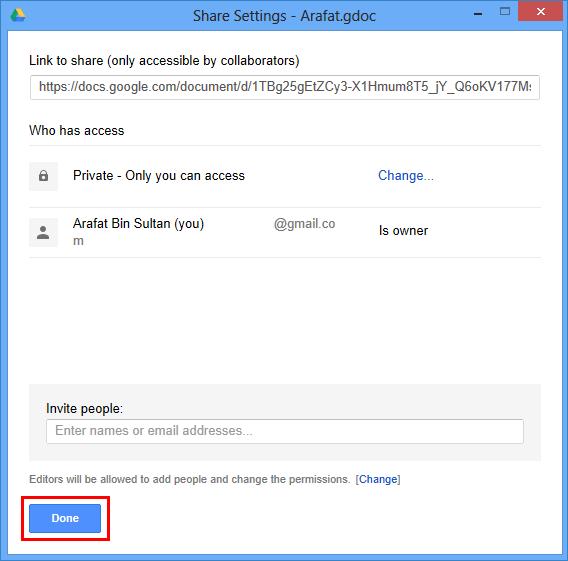 Настройки отправки ссылки в Гугл.Диск