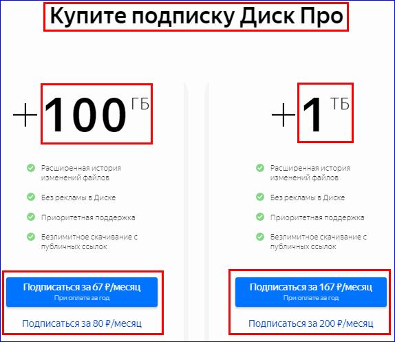 Покупка дополнительного места на Яндекс диске