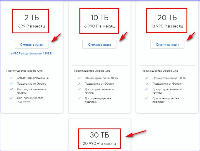 Увеличение облачного пространства в Google Drive